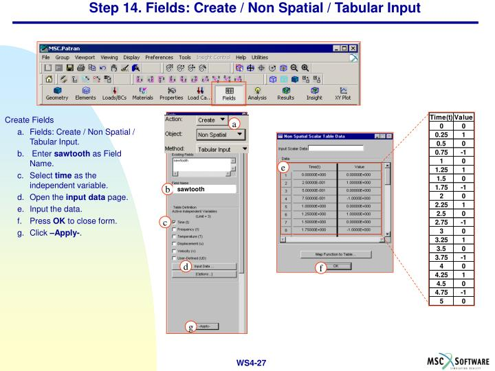 Step 14. Fields: Create / Non Spatial / Tabular Input