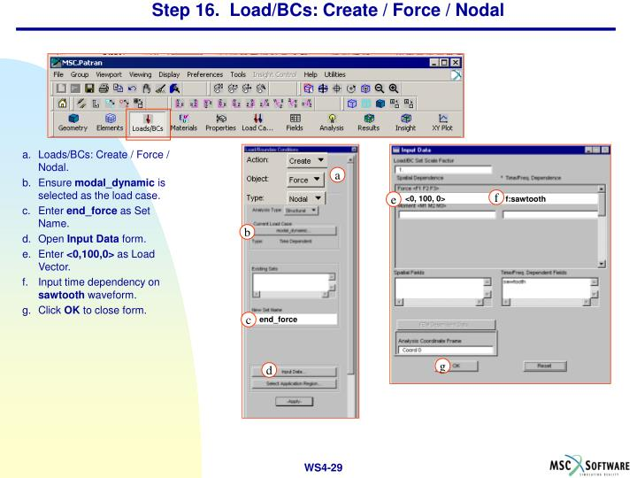 Step 16.  Load/BCs: Create / Force / Nodal