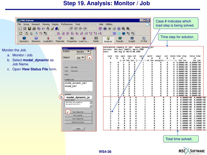 Step 19. Analysis: Monitor / Job