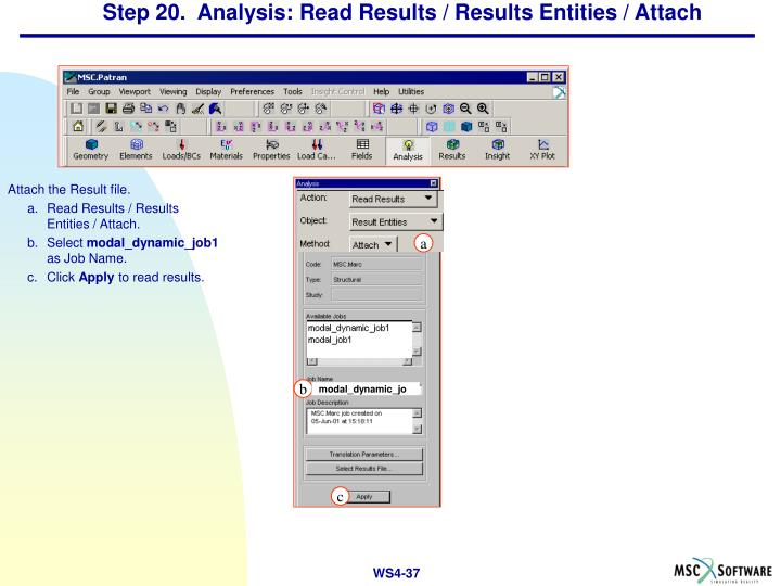 Step 20.  Analysis: Read Results / Results Entities / Attach