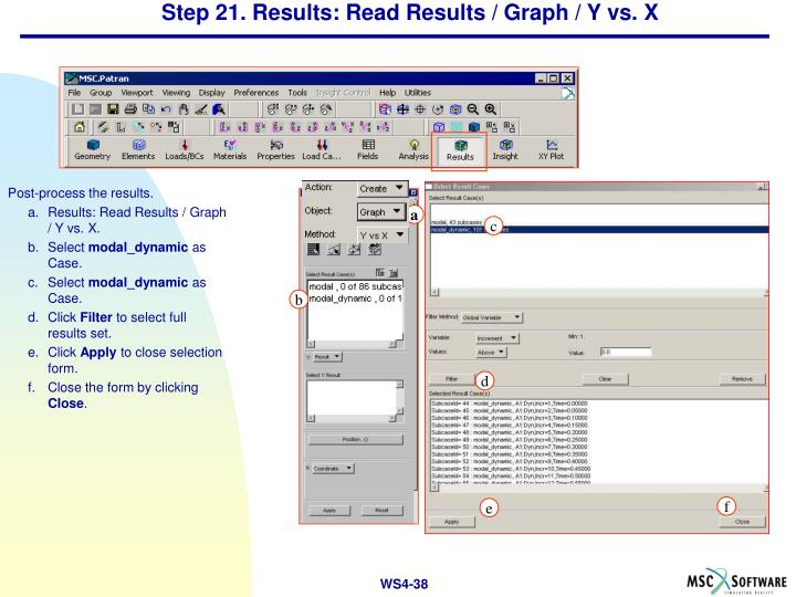Step 21. Results: Read Results / Graph / Y vs. X