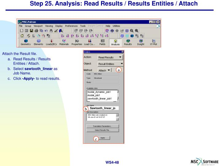 Step 25. Analysis: Read Results / Results Entities / Attach