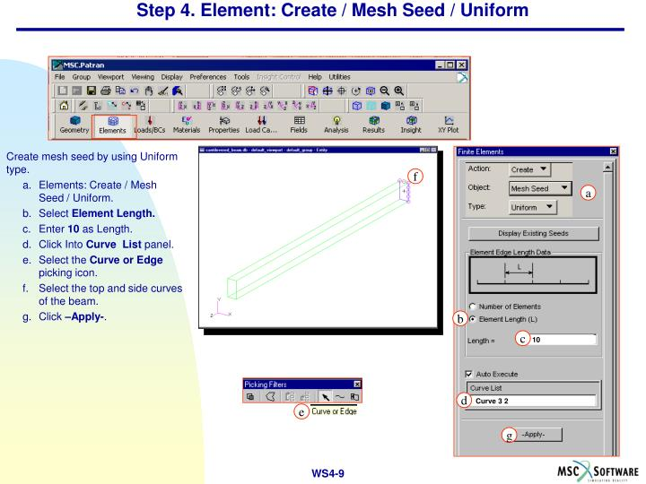 Step 4. Element: Create / Mesh Seed / Uniform