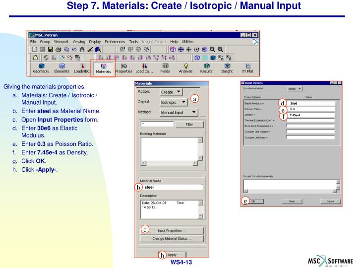 Step 7. Materials: Create / Isotropic / Manual Input