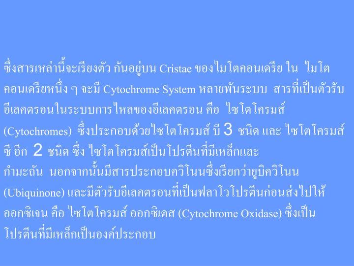 Cristae       Cytochrome System      (Cytochromes)   3      2     (Ubiquinone)     (Cytochrome Oxidase)