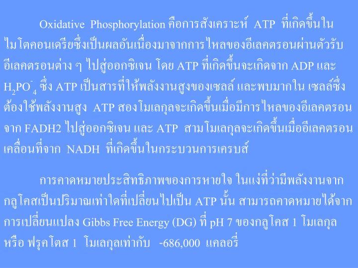 Oxidative Phosphorylation คือการสังเคราะห์ ATP ที่เกิดขึ้นใน   ไมโตคอนเดรียซึ่งเป็นผลอันเนื่องมาจากการไหลของอีเลคตรอนผ่านตัวรับ  อีเลคตรอนต่าง ๆ ไปสู่ออกซิเจน โดย ATP ที่เกิดขึ้นจะเกิดจาก ADP และ H