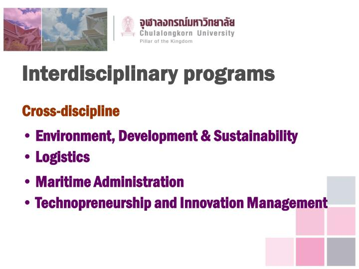Interdisciplinary programs