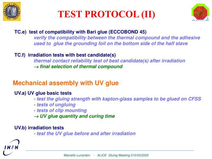 TEST PROTOCOL (II)