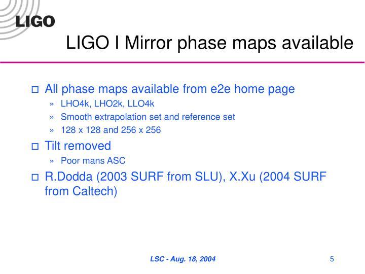 LIGO I Mirror phase maps available