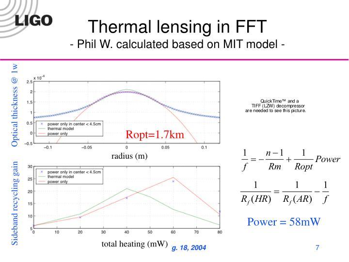Thermal lensing in FFT