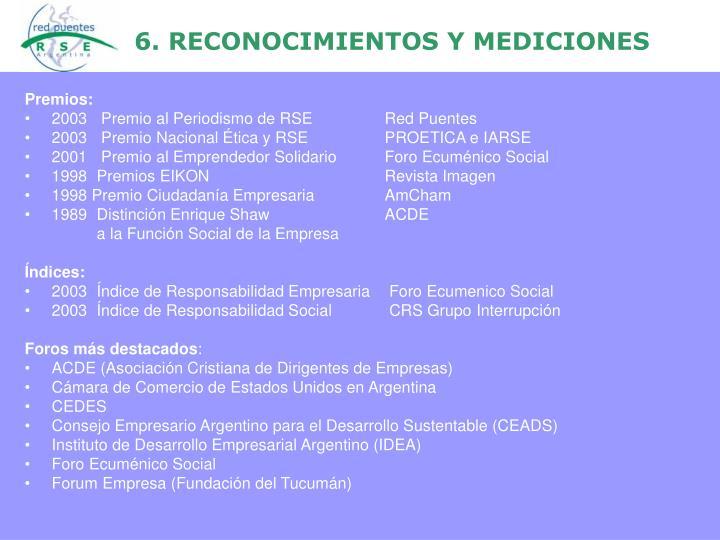 6. RECONOCIMIENTOS Y MEDICIONES