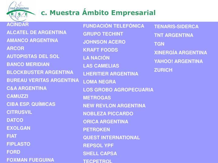 c. Muestra Ámbito Empresarial