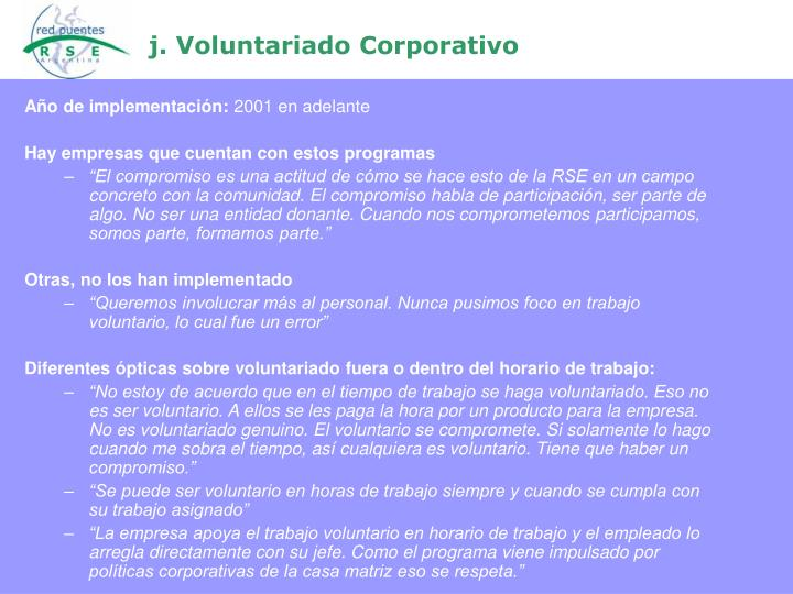 j. Voluntariado Corporativo