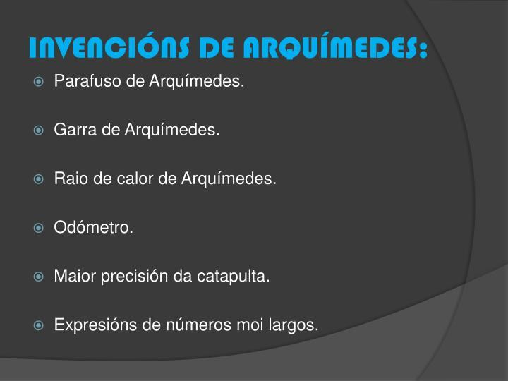 INVENCIÓNS DE ARQUÍMEDES: