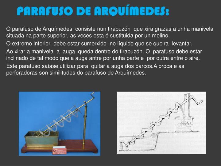PARAFUSO DE ARQUÍMEDES:
