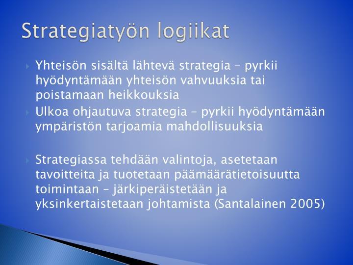 Strategiatyön logiikat