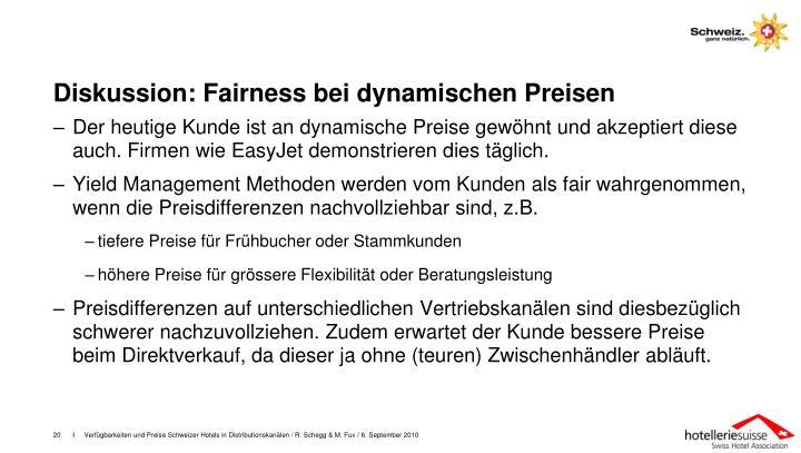 Diskussion: Fairness bei dynamischen Preisen