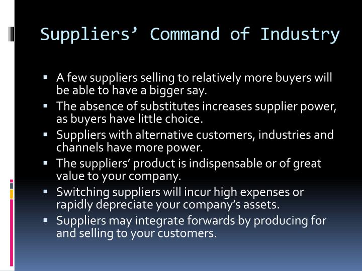 Suppliers' Command of Industry