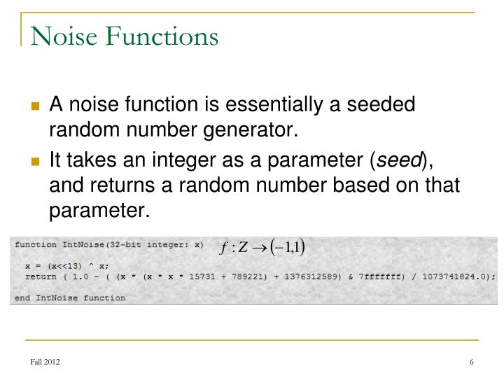 Noise Functions