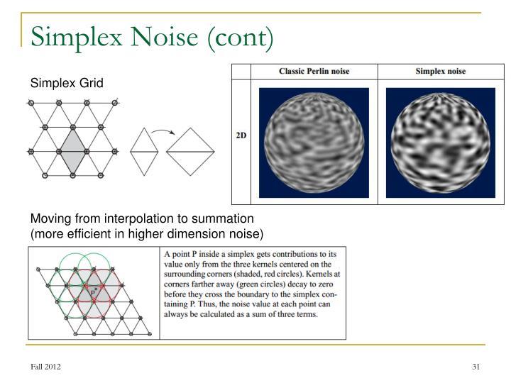 Simplex Noise (cont)