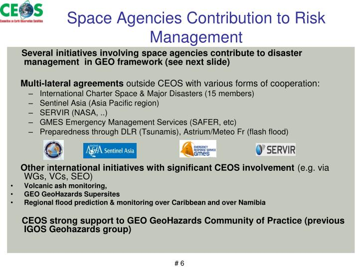 Space Agencies Contribution to