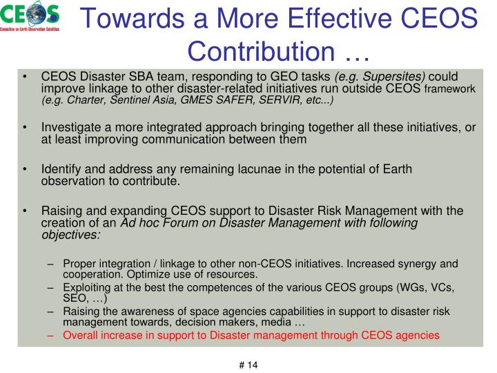 Towards a More Effective CEOS Contribution …