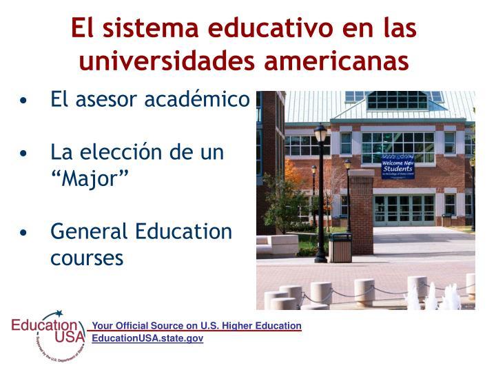 El sistema educativo en las universidades americanas