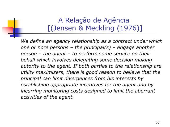 A Relação de Agência