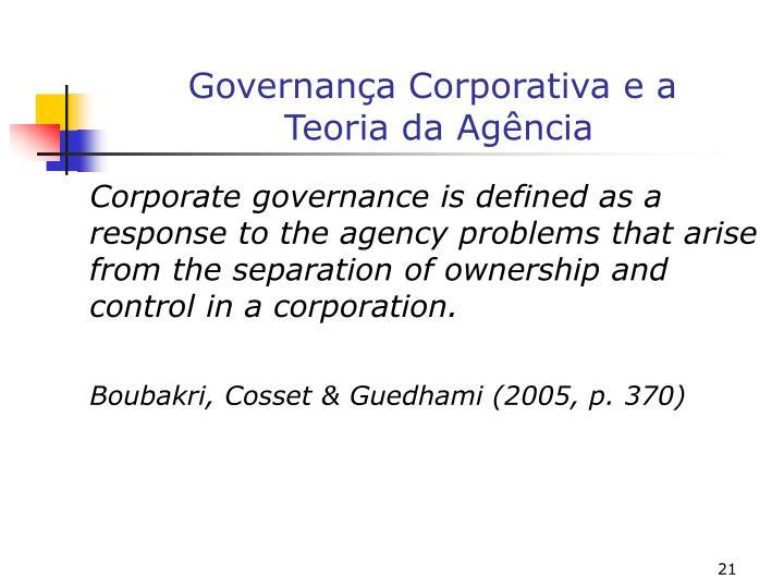Governança Corporativa e a