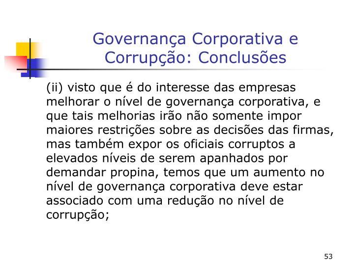 Governança Corporativa e Corrupção: Conclusões