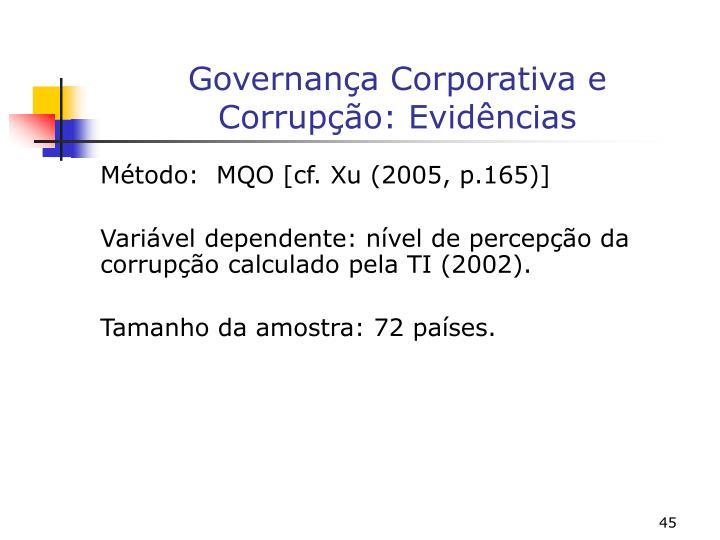 Governança Corporativa e Corrupção: Evidências