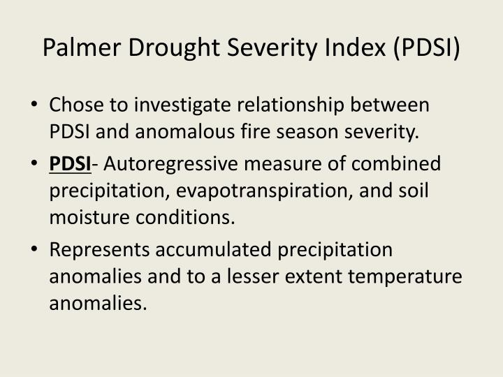 Palmer Drought Severity Index (PDSI)