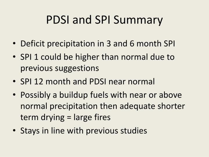 PDSI and SPI Summary