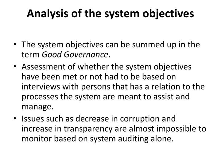 Analysis of the system objectives