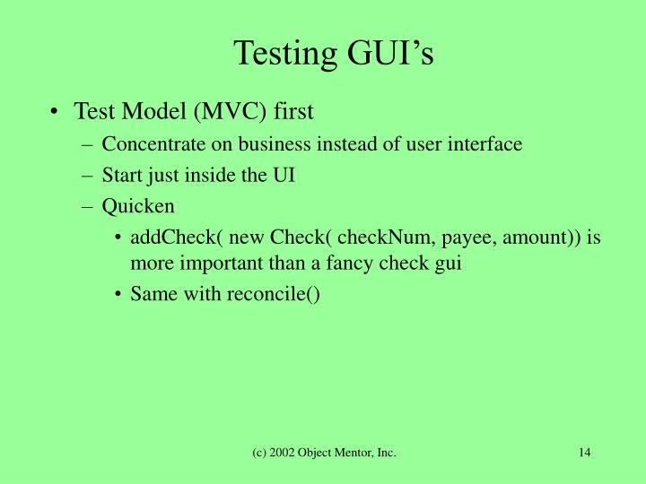 Testing GUI's