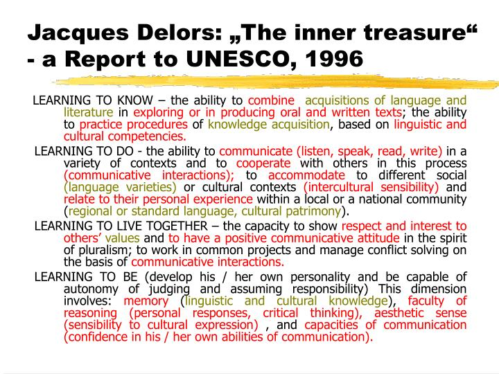 "Jacques Delors: ""The inner treasure"""