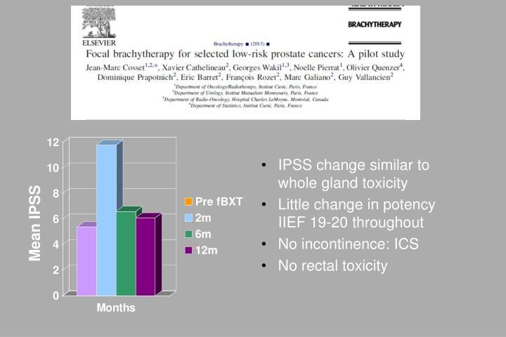 IPSS change similar to whole gland toxicity