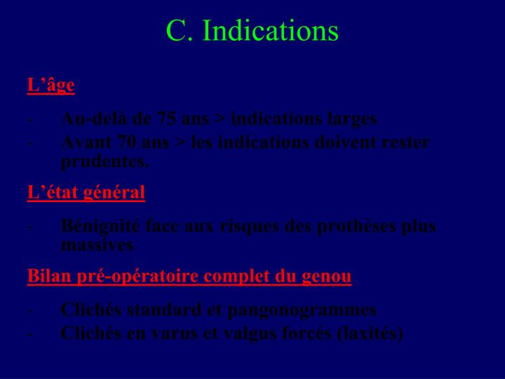 C. Indications