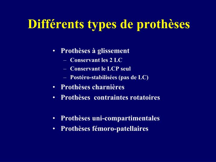 Diff rents types de proth ses