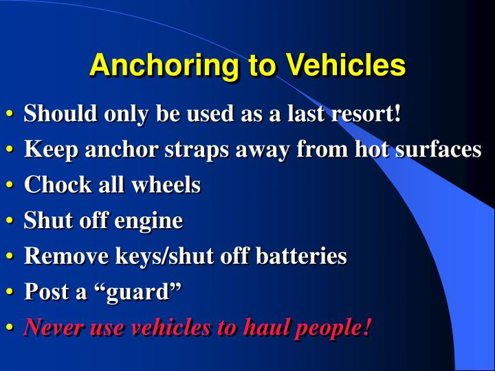 Anchoring to Vehicles