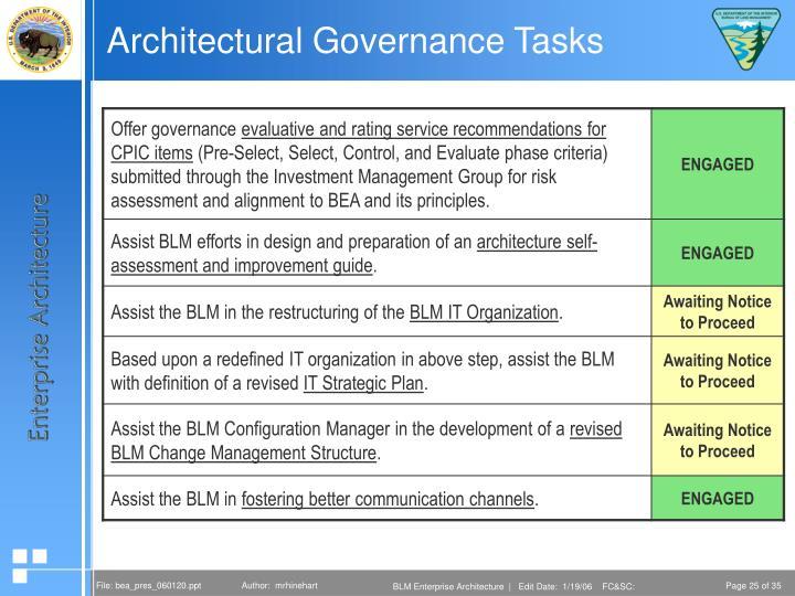 Architectural Governance Tasks