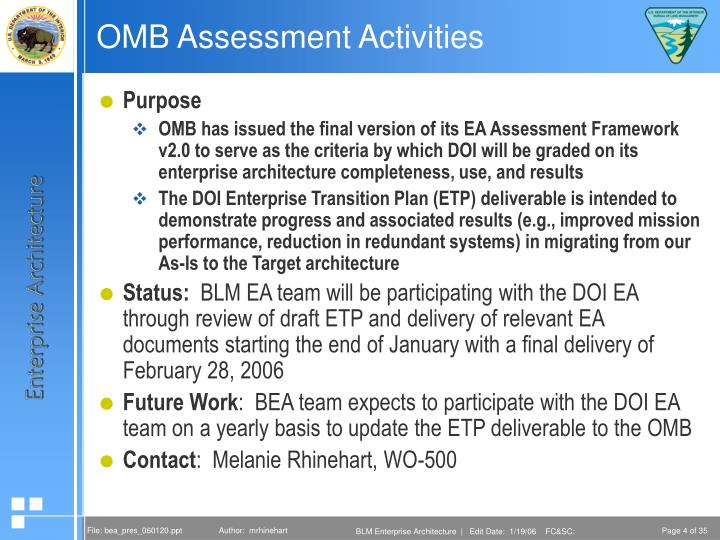 OMB Assessment Activities