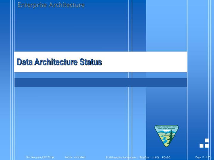 Data Architecture Status