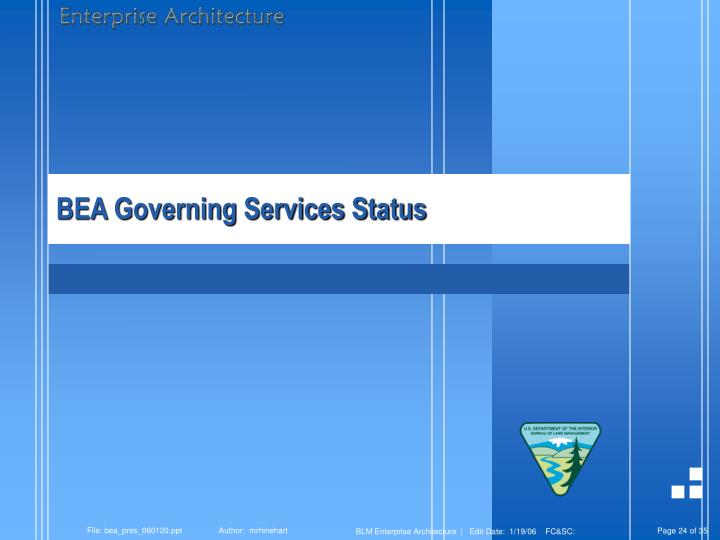 BEA Governing Services Status