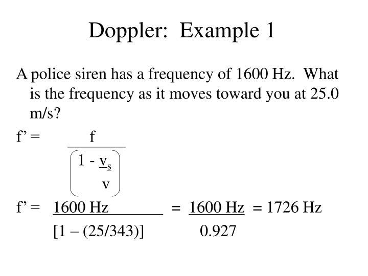 Doppler:  Example 1