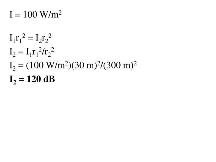 I = 100 W/m