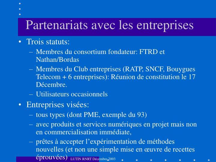Partenariats avec les entreprises