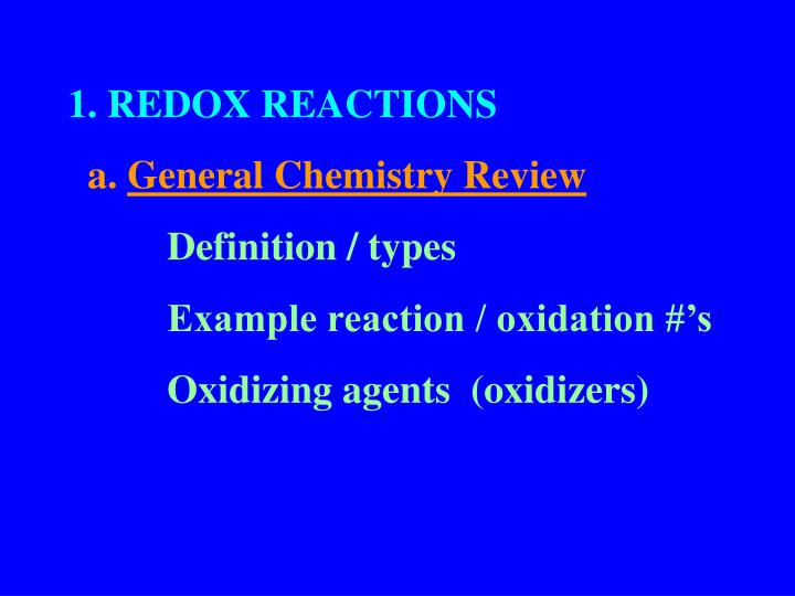 1. REDOX REACTIONS