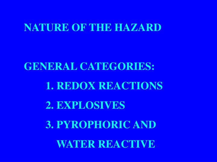 NATURE OF THE HAZARD
