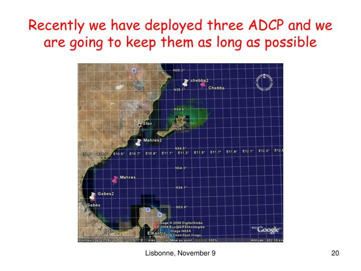 Recently we have deployed three ADCP and we are going to keep them as long as possible